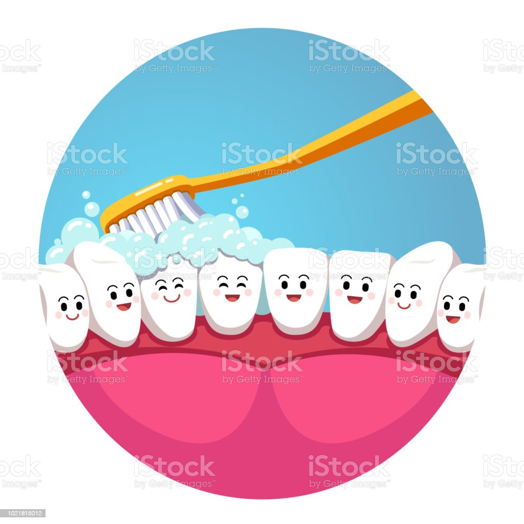 Healthy teeth hygiene concept. Toothbrush brushing smiling teeth characters inside mouth. Flat isolated vector vector art illustration