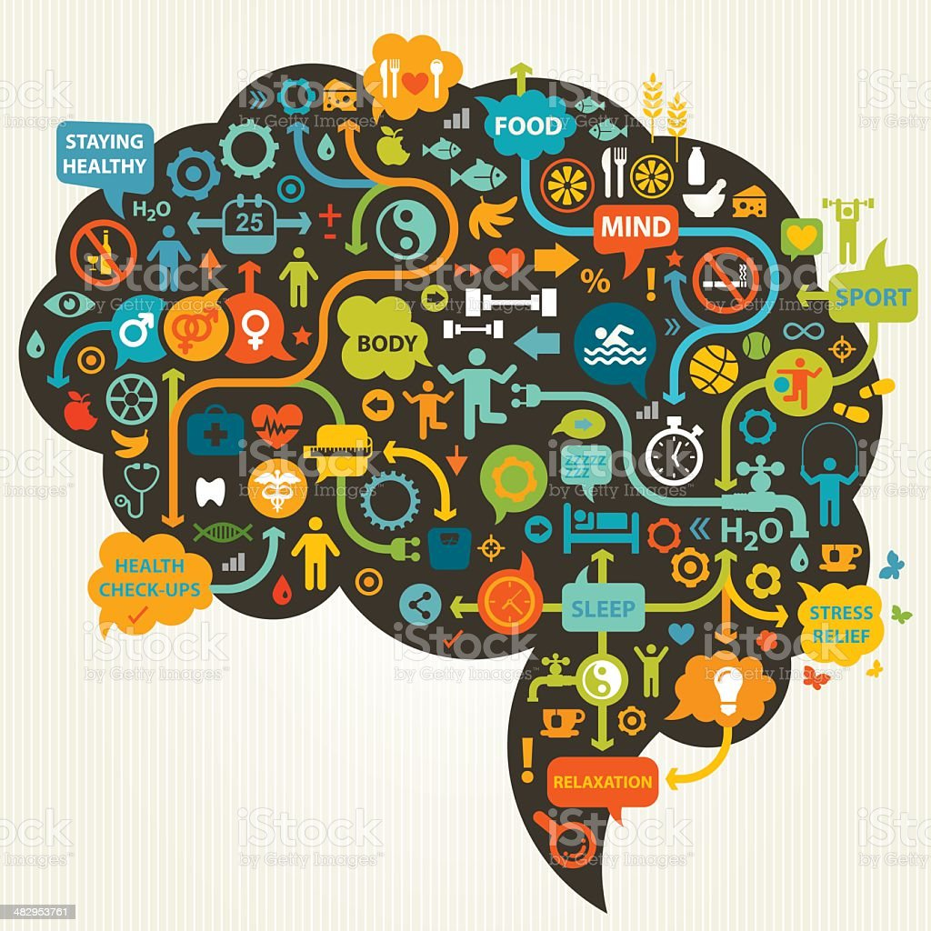 Healthy Thinking vector art illustration