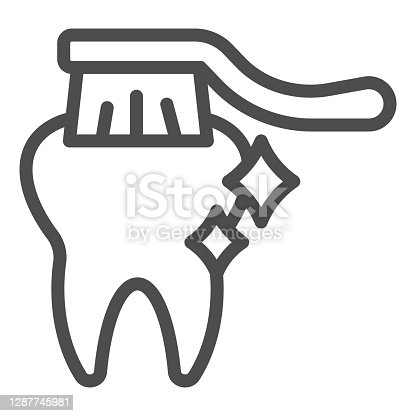 istock Healthy tooth and toothbrush line icon, Hygiene routine concept, Tooth care sign on white background, teeth brushing icon in outline style for mobile concept and web design. Vector graphics. 1287745981