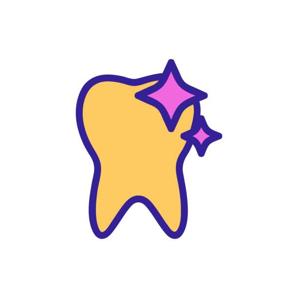 stockillustraties, clipart, cartoons en iconen met gezonde tandpictogramvector. geïsoleerde illustratie van het contoursymbool - streptococcus mutans