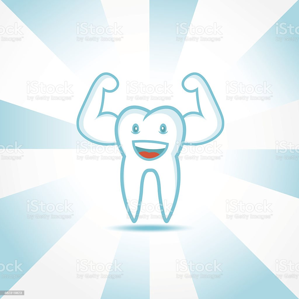 healthy tooth vector art illustration