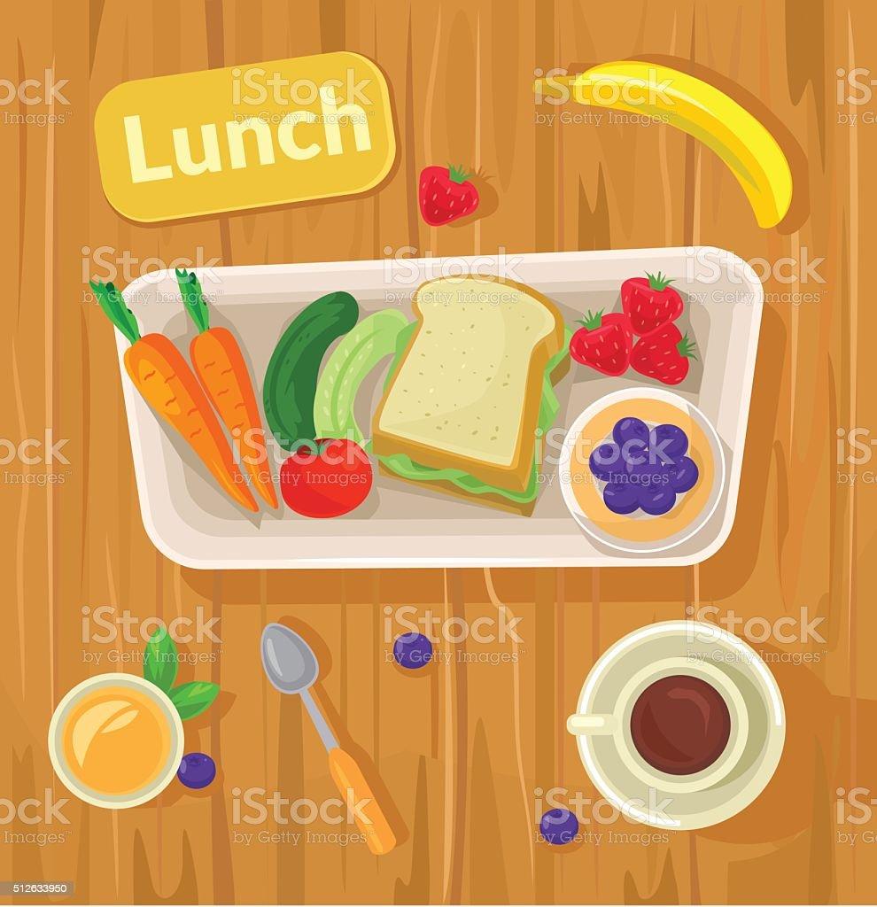 Healthy vector lunch. Vector flat illustration vector art illustration