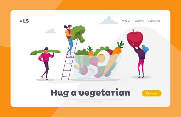 건강 채식 주의 자 음식 선택 방문 페이지 템플릿입니다. 젊은 사람들 문자는 유리 그릇에 거대한 야채, 딸기와 과일을 넣어. 제품의 비타민, 유기농 녹지. 만화 벡터 일러스트레이션 - 잘 익은 stock illustrations