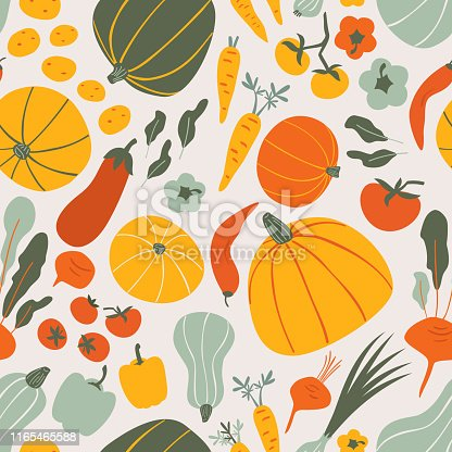 Healthy vegan Food doodle seamless vector pattern