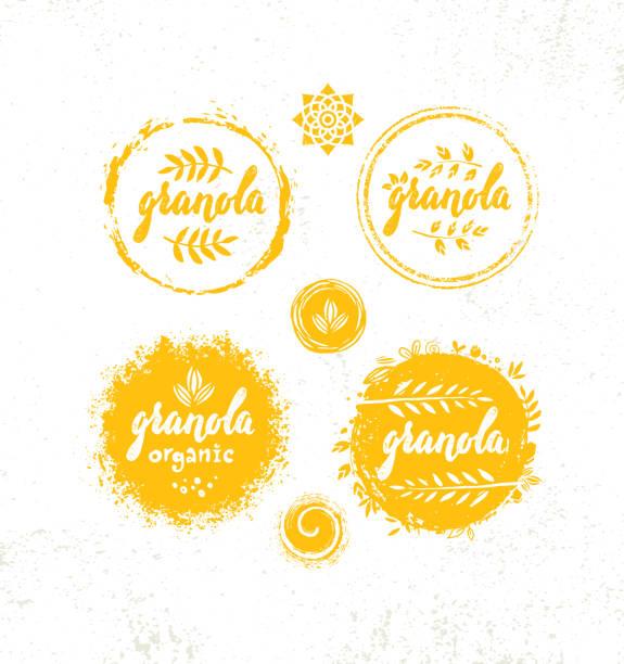Healthy Vegan Snack Granola Cereal Vector Nutrition Food Design Element. Organic Handmade Concept. Rough Eco Breakfast Illustration On Grunge Wall Background vector art illustration