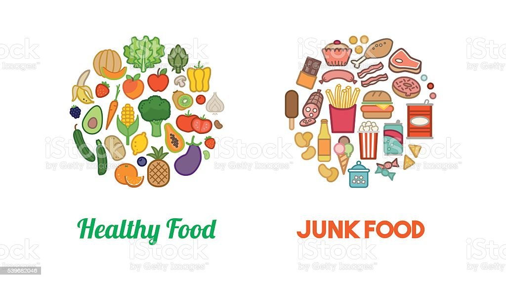Healthy Vegetables And Junk Food Stock Vector Art Amp More