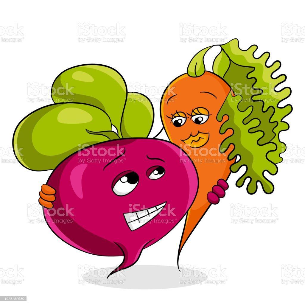 Ilustración De Estilo De Dibujos Animados Concepto Zanahorias Y