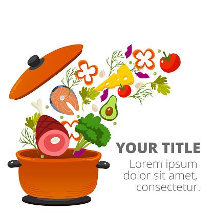 Healthy Vegetables Cooking In Kitchen Pot Vector Image