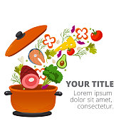 Healthy Vegetables Cooking In Kitchen Pot Vector Image