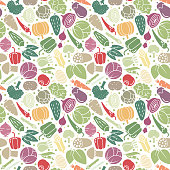 Variety of healthy vegetables seamless vector pattern wallpaper. Fresh food background.