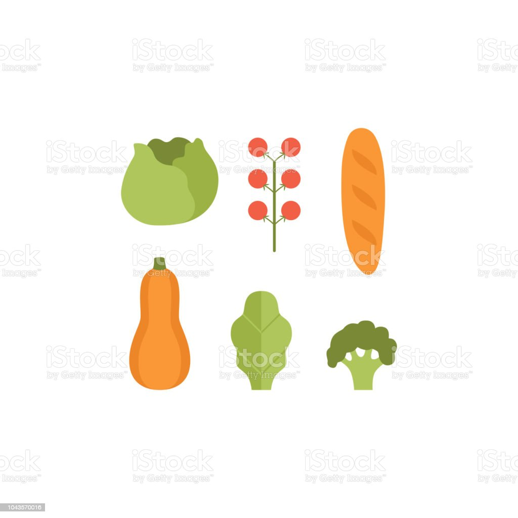Healthy vegetarian food set, pumpkin, zucchini, cabbage, tomatoes and loaf vector Illustrations on a white background vector art illustration