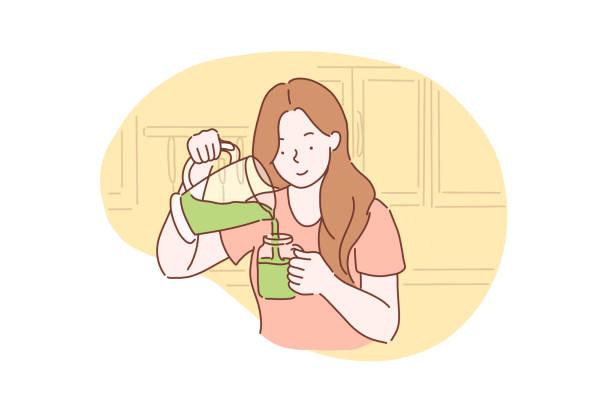 illustrazioni stock, clip art, cartoni animati e icone di tendenza di healthy, vegetarian, green concept - healthy green juice