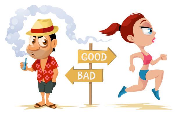 gesunde lebensweise und ungesunde lebensweise. sportliche frau, die auf den strand und lustige urlauber rauchen elektronische zigarette. - laufführer stock-grafiken, -clipart, -cartoons und -symbole