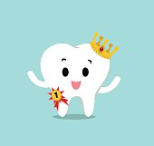 Vector of Cute healthy white teeth wearing the gold crown and winning the 1st prize for Health care