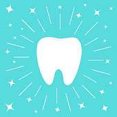 Healthy white tooth icon. Round line circle. Oral dental hygiene. Children teeth care. Shining effect sparkle stars. Flat design. Blue background. Vector illustration