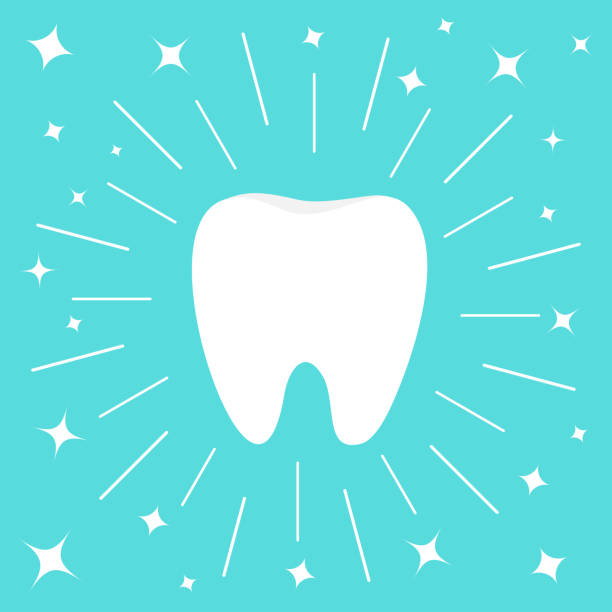 illustrazioni stock, clip art, cartoni animati e icone di tendenza di healthy white tooth icon. round line circle. oral dental hygiene. children teeth care. shining effect sparkle stars. flat design. blue background. - denti