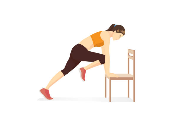 Healthy Woman doing home cardio workout by Mountain Climber posture with Chair.Workout while stay at Home. vector art illustration