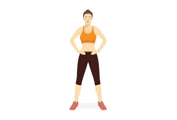 Healthy woman standing with arms akimbo isolated on white background. Prepare posture of Sport people before fitness. vector art illustration