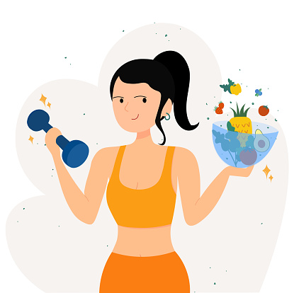 Healthy Woman with Vegetables and Dumbbells Promoting a Healthy Lifestyle