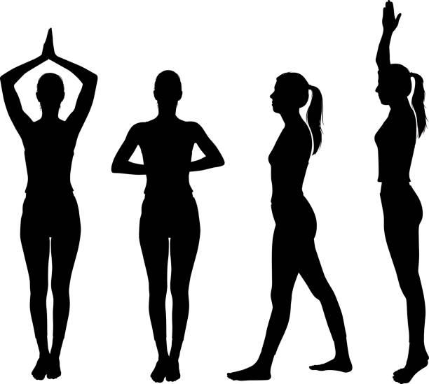 stockillustraties, clipart, cartoons en iconen met healthy yoga silhouette - mid volwassen vrouw