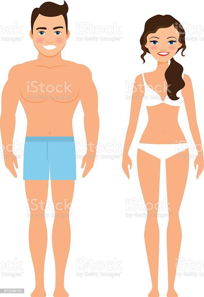 Healthy young man and woman vector art illustration