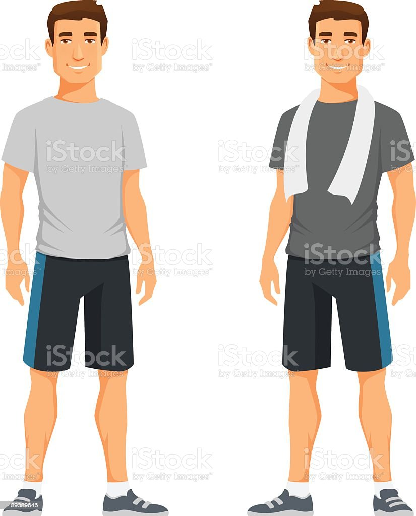 healthy young man in sportswear vector art illustration