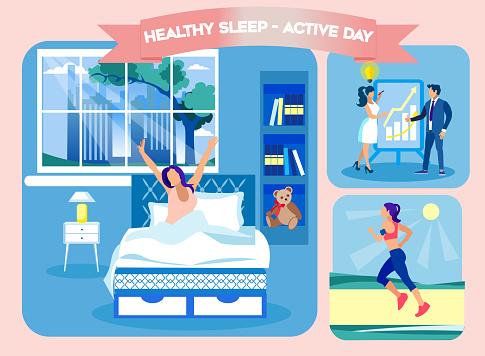 Healty Sleep Active Day. Woke Up Comfortable Bed.