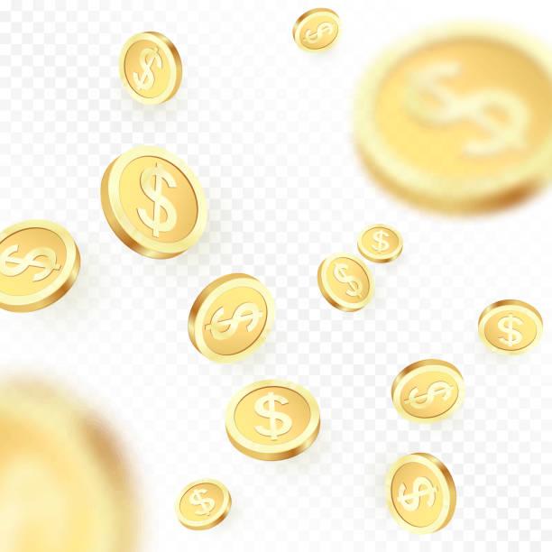 stockillustraties, clipart, cartoons en iconen met heap vallende gouden munten geïsoleerd op transparante achtergrond. glanzende metalen dollar regen. casino van jackpot winnen. vectorillustratie - non profit