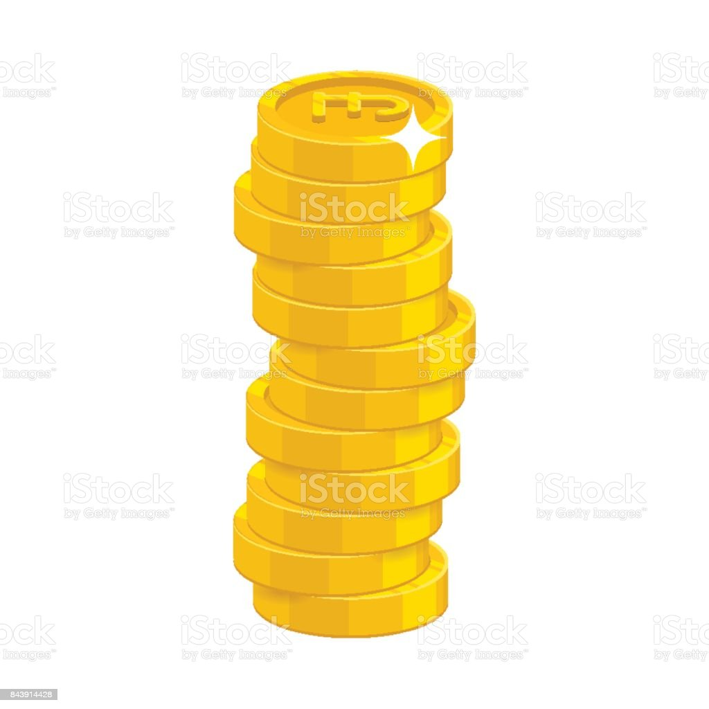 Heap gold coins vector art illustration