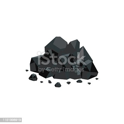 Heap of black natural coal mineral rocks flat vector illustration isolated on white background. Fuel mining and power resources of nature icon for industrial design.