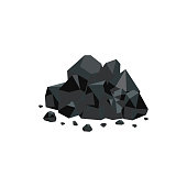 Heap of black coal mineral rocks flat vector isolated on white background.