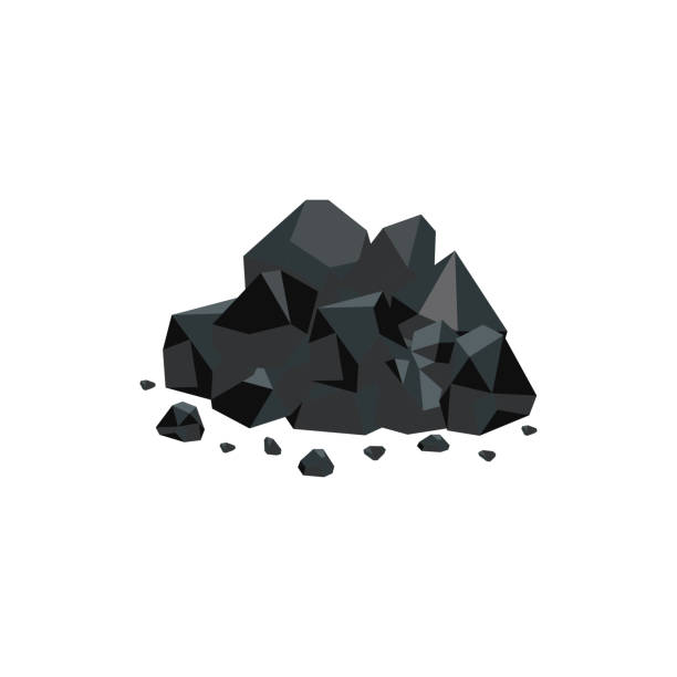 heap of black coal mineral rocks flat vector isolated on white background. - coal stock illustrations