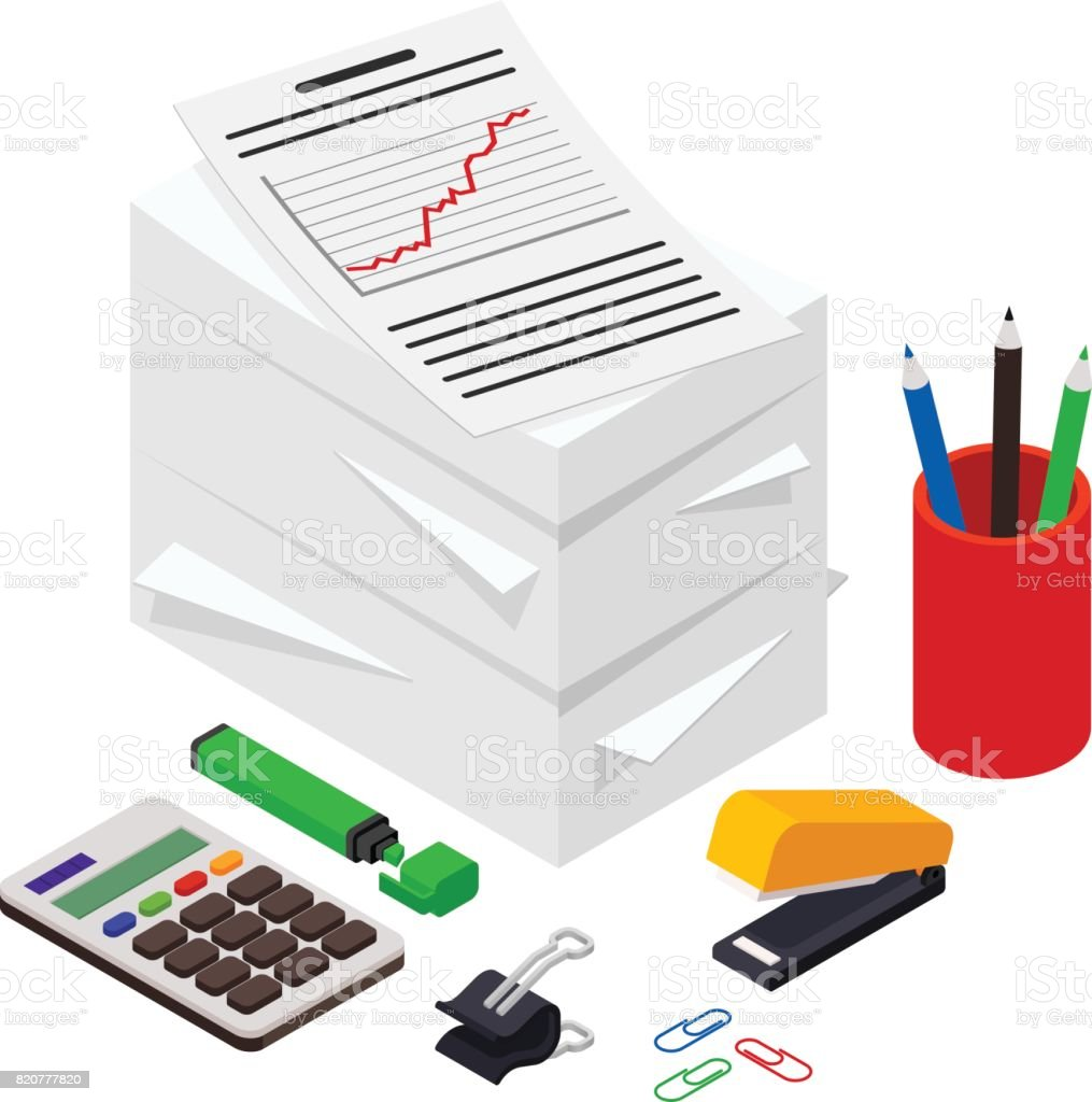 Heap of documents accompanied by pen, pencil and calculator. Isometric vector illustration vector art illustration