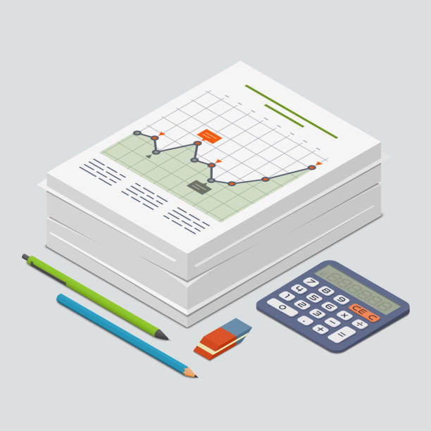 Heap of documents accompanied by pen, pencil and calculator. Isometric vector illustration Heap of documents accompanied by pen, pencil and calculator. Isometric vector illustration accounting ledger stock illustrations