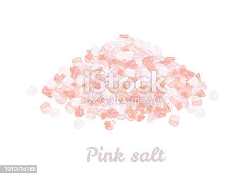 Montones de sal rosa del Himalaya aislados sobre fondo blanco. Ilustración vectorial en estilo plano de dibujos animados.