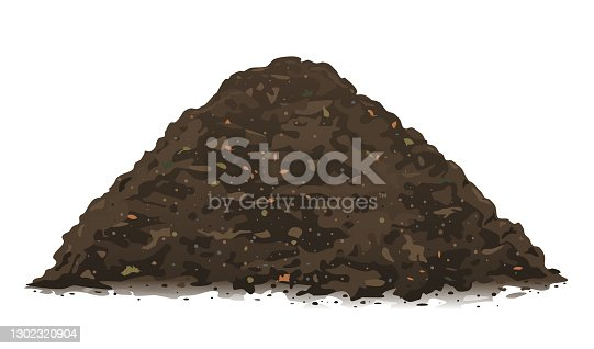 istock Heap of organic compost ground isolated 1302320904