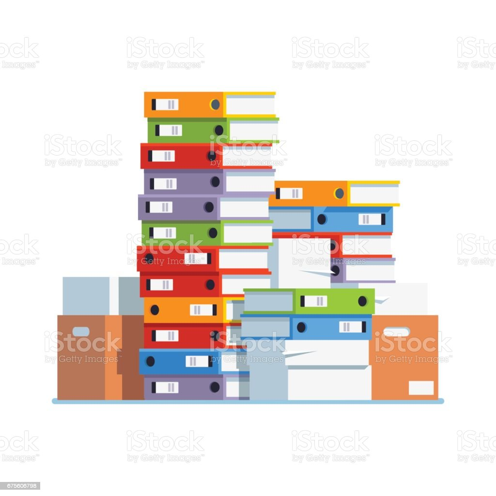 Heap of paper document file folders and boxes vector art illustration