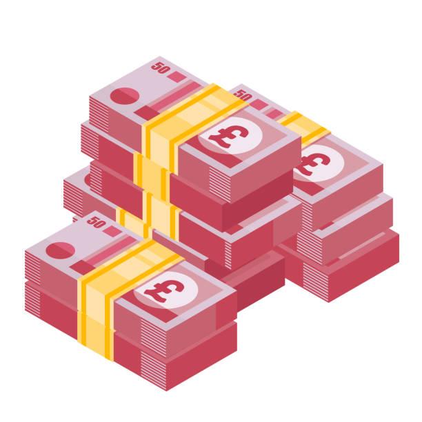 파운드 스털링의 힙. 영어 돈의 큰 더미 - 영국 화폐 단위 stock illustrations