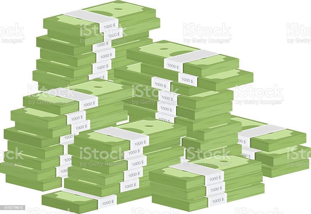 Heap of rolls money vector art illustration