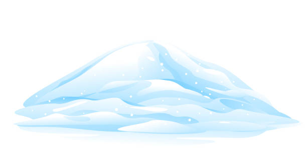 Heap of Snow One big blue heap of snow, snow caps, bunch of snow winter decoration element, isolated on white heap stock illustrations