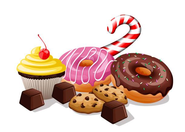 haufen von süßigkeiten - tortenriegel stock-grafiken, -clipart, -cartoons und -symbole