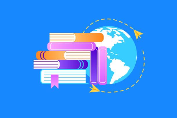 ilustrações de stock, clip art, desenhos animados e ícones de heap of textbooks on earth background background. - teacher school solo