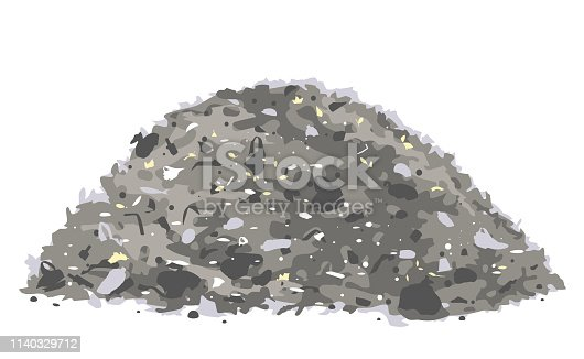 One big grey heap of trash and waste bags isolated on white, environmental pollution illustration
