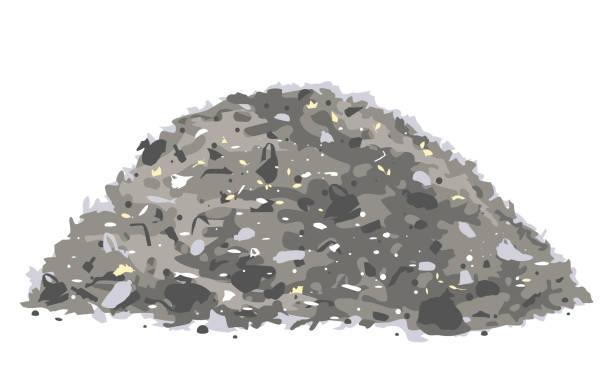 Heap of trash isolated One big grey heap of trash and waste bags isolated on white, environmental pollution illustration heap stock illustrations