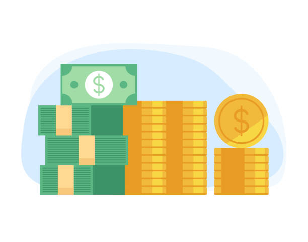 Haufen Haufen Geld Konzept. Vektor flache Cartoon Grafik-Design-Illustration – Vektorgrafik