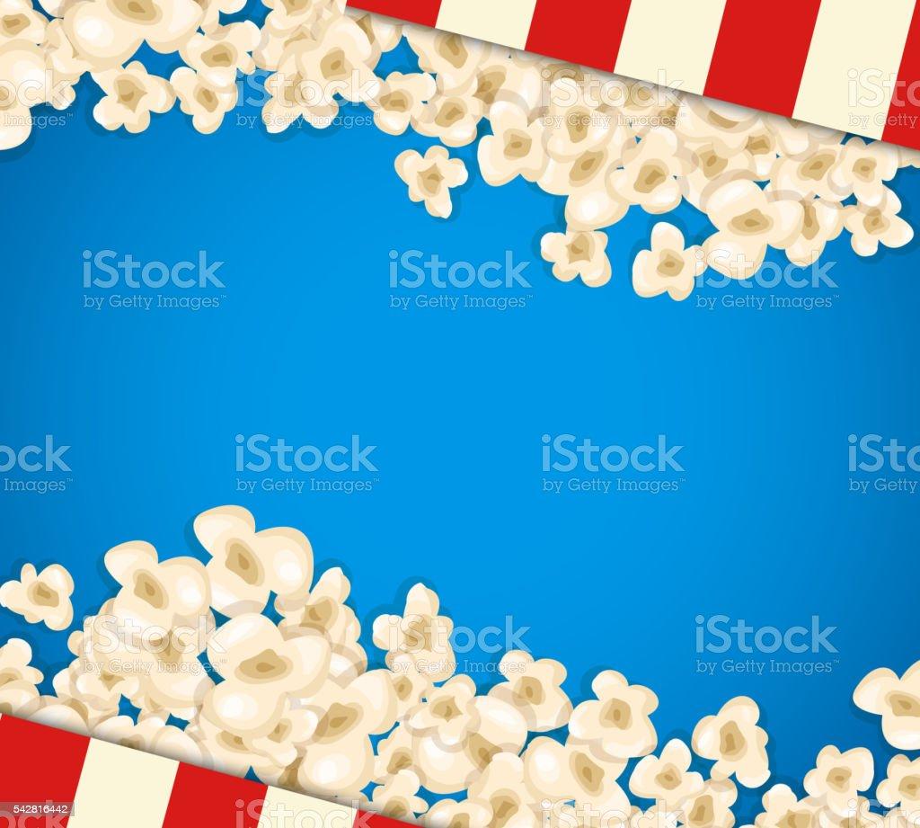 Heap popcorn for movie lies on blue background. vector art illustration