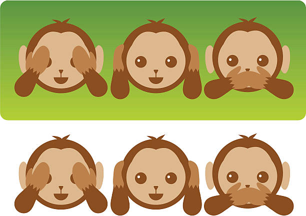 Hear No Evil Monkeys An illustrated series of simple cartoon monkeys, one covering its eyes (see no evil), one covering its ears (hear no evil), and one covering its mouth (speak no evil). hear no evil stock illustrations