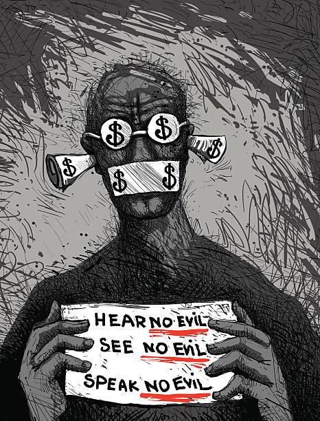 hear no evil. see no... - evil money stock illustrations, clip art, cartoons, & icons