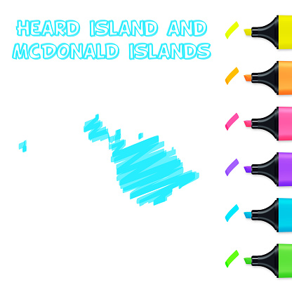 Heard Island and McDonald Islands map hand drawn with blue highlighter on white background