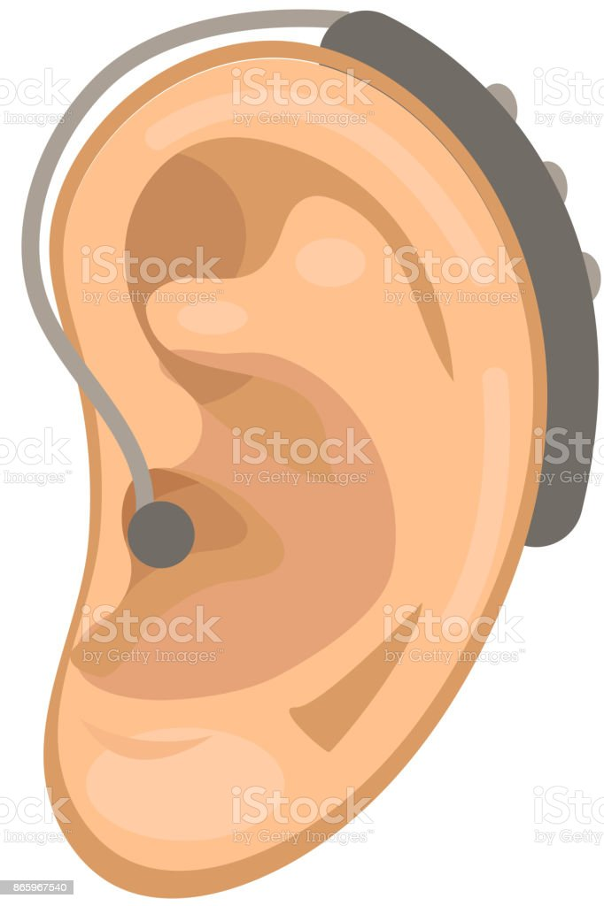 Hearing Aid Icon Flat Style Ear On A White Background Medicine